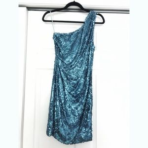One Shoulder AquaBlue Sequin Dress